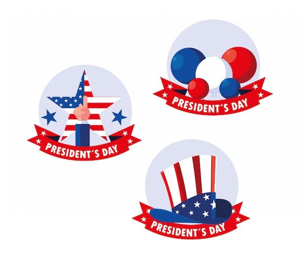 Conjunto de pegatinas del día del presidente sobre un fondo blanco