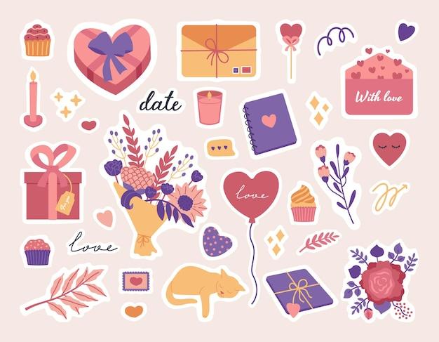 Conjunto de pegatinas del día de san valentín, objetos de símbolo de amor y letras lindas