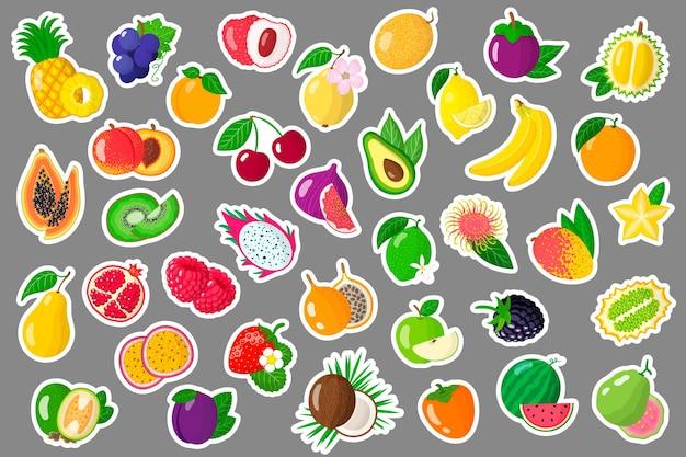 Conjunto de pegatinas de dibujos animados con frutas y bayas exóticas de verano.