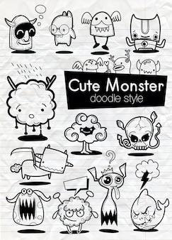 Conjunto de pegatinas de dibujos animados de monstruos.