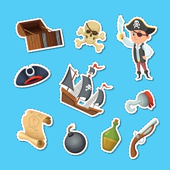 Conjunto de pegatinas de dibujos animados vector piratas del mar