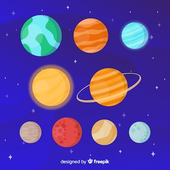 Conjunto de pegatinas de diferentes planetas