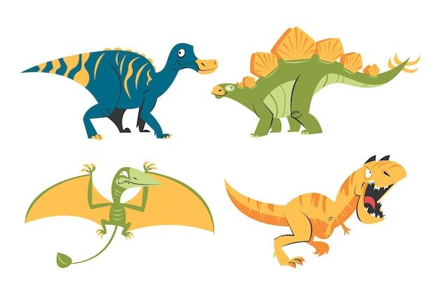 Conjunto de pegatinas de dinosaurios de dibujos animados retro