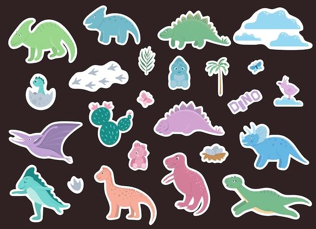 Conjunto de pegatinas de dinosaurios lindos.