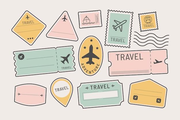Conjunto de pegatinas y distintivos de viaje