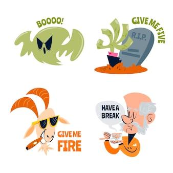 Conjunto de pegatinas divertidas dibujos animados retro