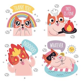 Conjunto de pegatinas divertidas doodle