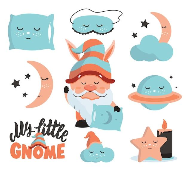 El conjunto de pegatinas para dormir con texto gnomo planeta estrellas la colección personajes soñolientos
