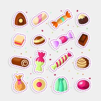 Conjunto de pegatinas de dulces dulces dibujos animados.