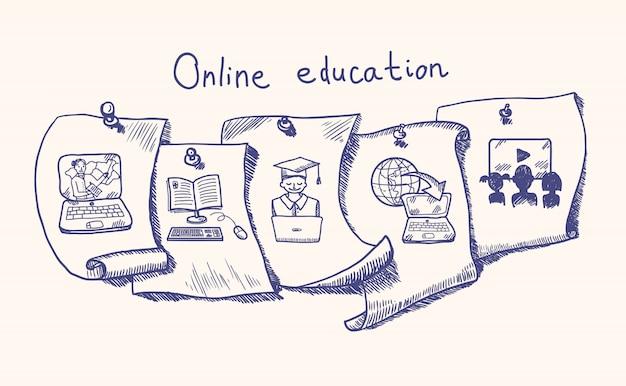 Conjunto de pegatinas de educación en línea.