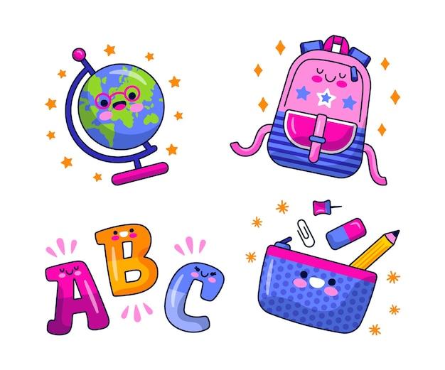 Conjunto de pegatinas educativas de dibujos animados