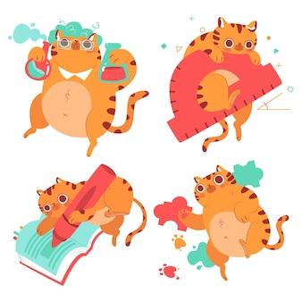 Conjunto de pegatinas educativas de gato bernie dibujadas a mano