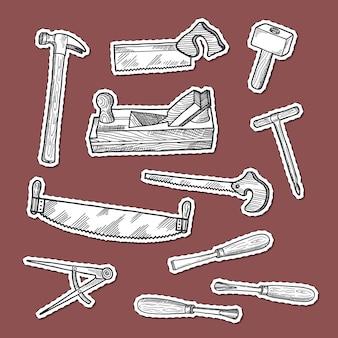 Conjunto de pegatinas de elementos de carpintería dibujados a mano