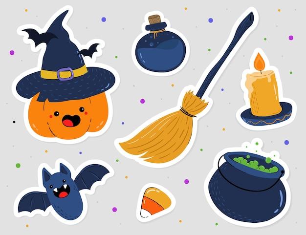 Conjunto de pegatinas de elementos de halloween