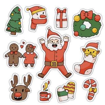 Conjunto de pegatinas de elementos lindos de navidad