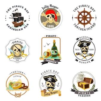 Conjunto de pegatinas de emblemas de pirata