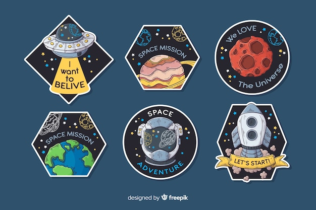 Conjunto de pegatinas espaciales dibujadas a mano