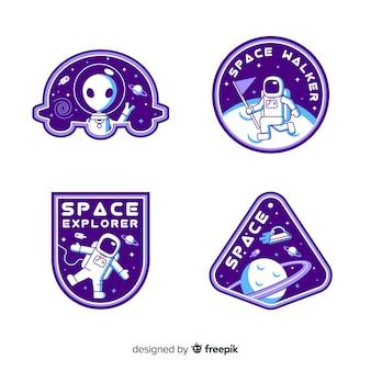 Conjunto de pegatinas espaciales con diferentes formas