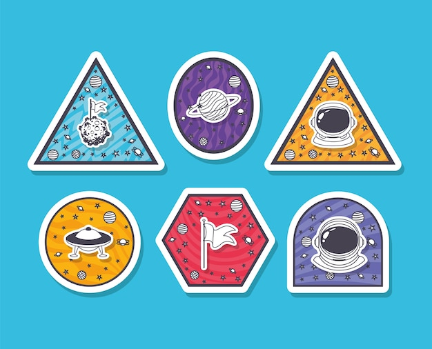 Conjunto de pegatinas espaciales sobre fondo azul claro