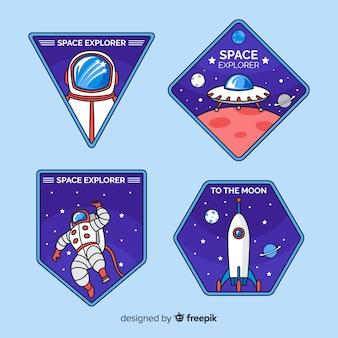 Conjunto de pegatinas de espacio retro