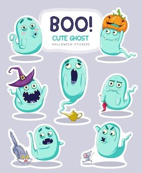 Conjunto de pegatinas de fantasmas de dibujos animados lindo con diferentes expresiones faciales. ilustración vectorial