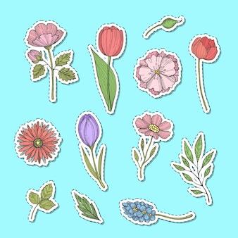 Conjunto de pegatinas de flores dibujadas a mano