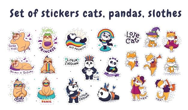 El conjunto de pegatinas gato, panda, perezoso. los personajes de dibujos animados con frases de letras.