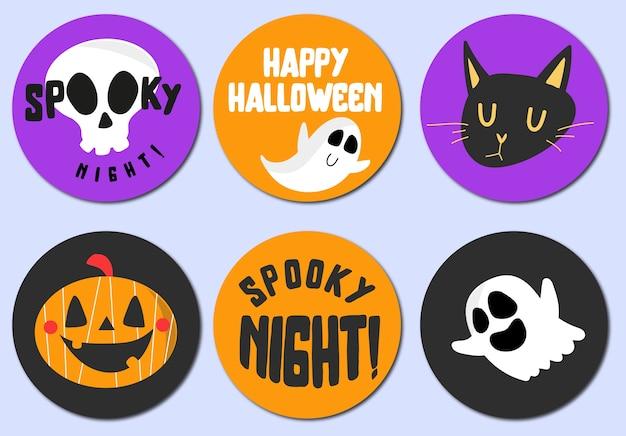 Conjunto de pegatinas de halloween feliz