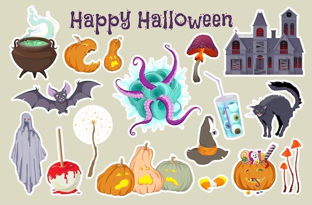 Un conjunto de pegatinas para halloween ilustración vectorial dibujada a mano aislada sobre fondo