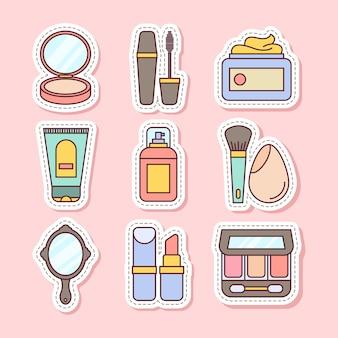 Conjunto de pegatinas de herramientas de maquillaje ilustraciones vectoriales sobre fondo rosa suave