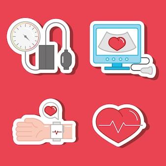 Conjunto de pegatinas de hipertensión
