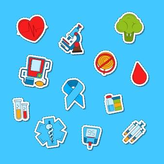 Conjunto de pegatinas de iconos de diabetes color