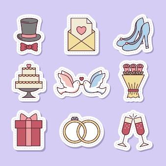 Conjunto de pegatinas de iconos o elementos de boda ilustraciones vectoriales sobre fondo morado o lila