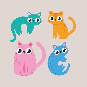 Conjunto de pegatinas con ilustración de gatos