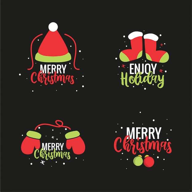 Conjunto de pegatinas de ilustración de navidad