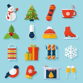 Conjunto de pegatinas de invierno