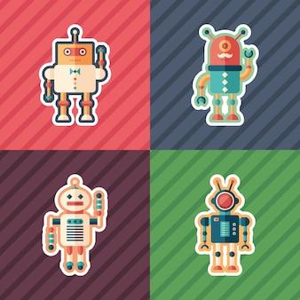 Conjunto de pegatinas isométricas de robots inteligentes