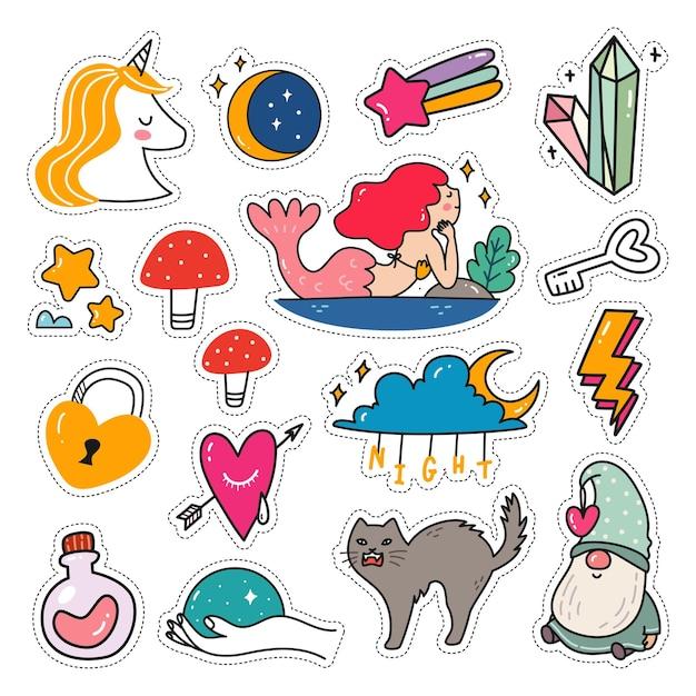 Conjunto de pegatinas kawaii en estilo doodle