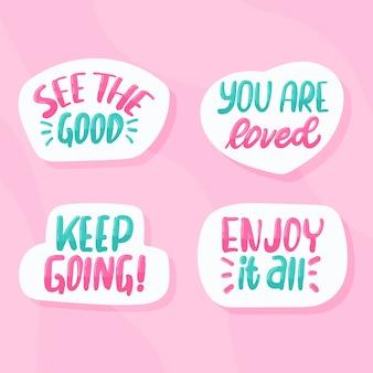 Conjunto de pegatinas de letras motivacionales