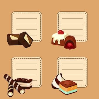 Conjunto de pegatinas con lugar para texto con caramelos de chocolate de dibujos animados.
