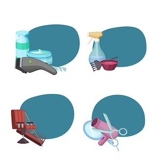 Conjunto de pegatinas con lugar para el texto con elementos de peluquería barbero de dibujos animados