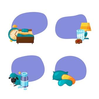 Conjunto de pegatinas con lugar para el texto con elementos de sueño de dibujos animados.