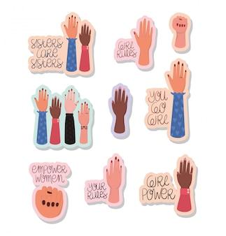 Conjunto de pegatinas de manos y textos de empoderamiento de la mujer. concepto feminista del poder femenino