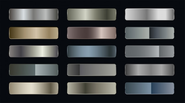 Conjunto de pegatinas metálicas gradientes