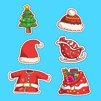 Conjunto de pegatinas de navidad
