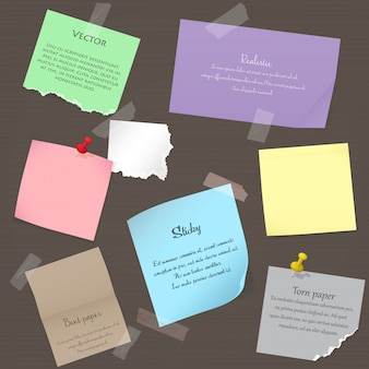 Conjunto de pegatinas de notas de papel realistas