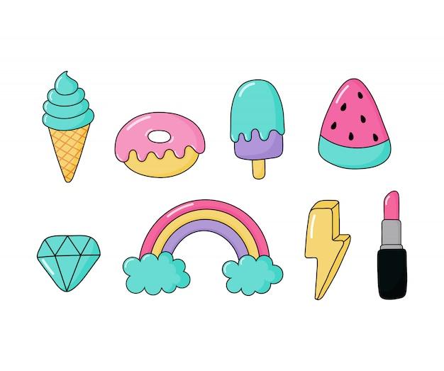Conjunto de pegatinas o insignias de parche de moda de icono. dibujos animados de los años 80, estilo cómico de los 90 para niñas aisladas.