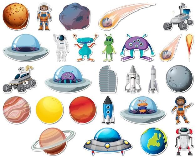 Conjunto de pegatinas con objetos del sistema solar aislados