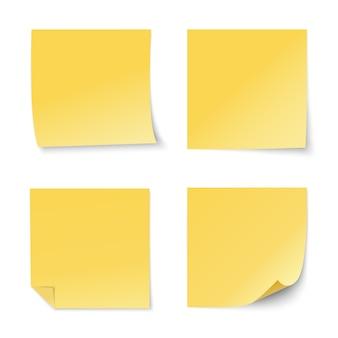 Conjunto de pegatinas de papel amarillo
