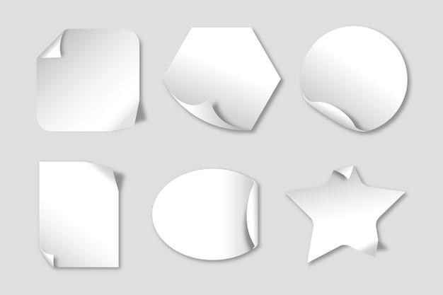 Conjunto de pegatinas de papel realista